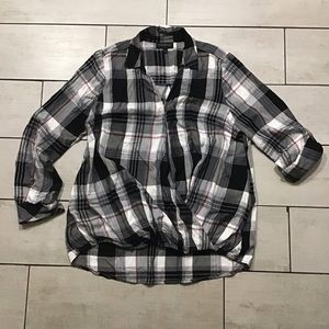 Lane Bryant Plaid Crossover Long Sleeve Top